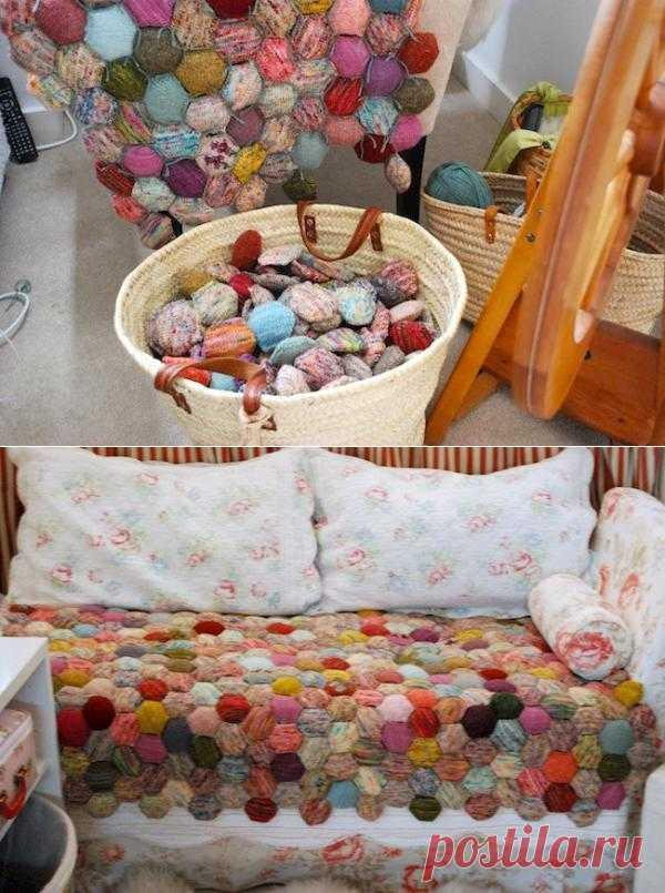 Используем остатки ниток - сидушка для дивана или табурета.