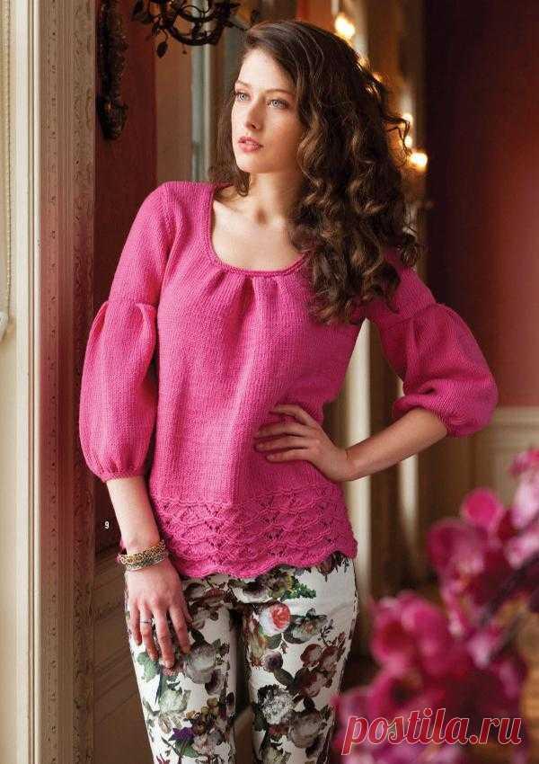 Вязание джемпера - блузы, дизайн 9, Vogue early fall 2013