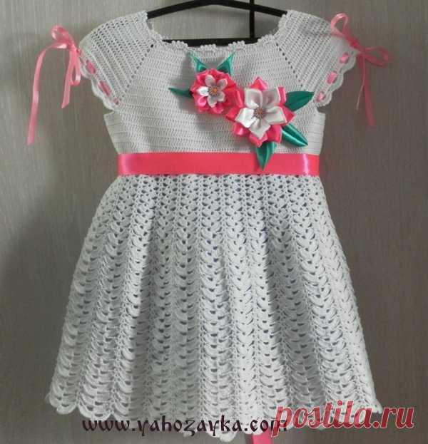 нежное платье для девочки крючком схема вязания детского платья