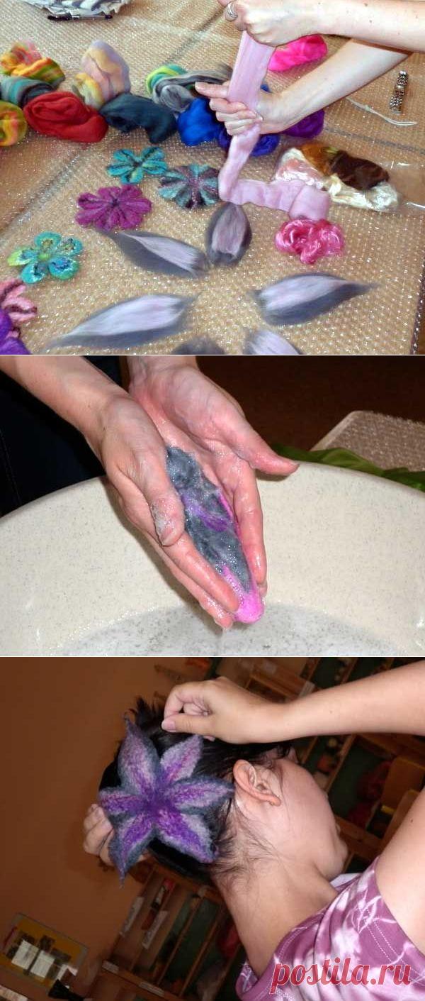Мастер-класс: делаем цветок методом мокрого валяния из шерсти | Valika