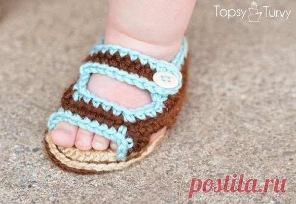 Пинетки-сандалики для малыша. Мастер-класс.