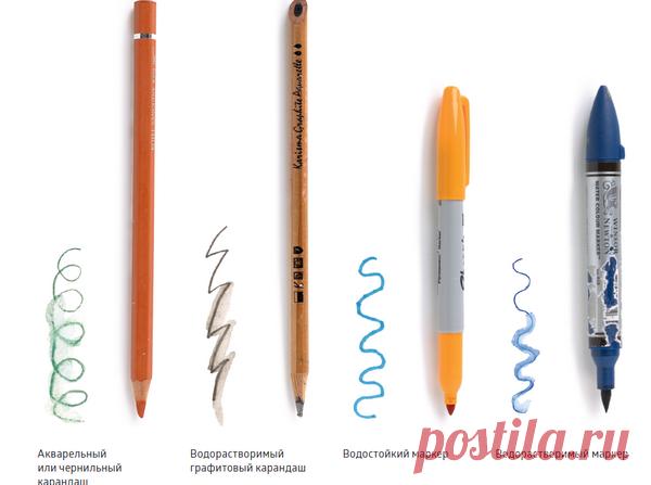 Водорастворимые карандаши Бывают всех цветов радуги. Можно рисовать сухим карандашом или смочить его водой. Удобно размечать цвета на наброске, по которому вы будете работать в студии.  Водорастворимые графитовые карандаши Подходят для быстрого тонирования. Выбирайте самые мягкие и темные. Их также можно использовать в технике по сухому для штрихованных тональных зарисовок.
