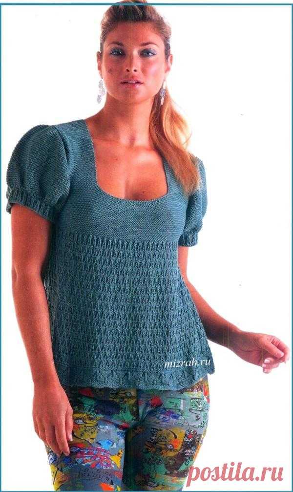 Изящный пуловер-туника спицами.