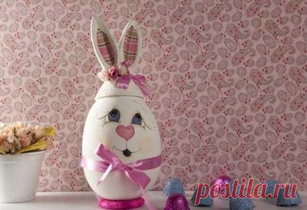 Пасхальный зайчик из яйца. МК.