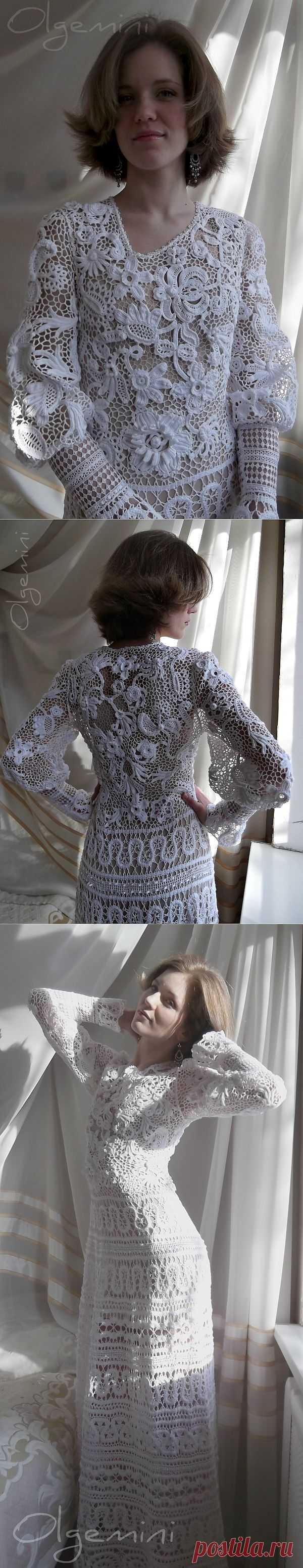 """Платье""""Лебедушка"""". Красота неописуемая!!!. Ирландское кружево + брюгское кружево= платье """"ЛЕБЁДУШКА"""" от ОЛЬГЕМИНИ... пошаговые фото..."""