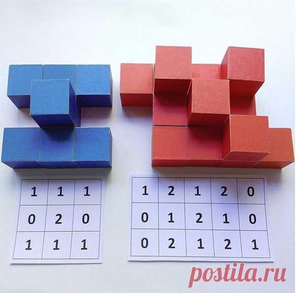 РАЗВИТИЕ МЫШЛЕНИЯ У ДЕТЕЙ. Строим по схемам. Задание: - посмотреть на карточку-схему, на которой показано расположение кубиков и их количество; - выложить кубики в соответствии со схемой. ⠀ Игра развивает логическое мышление и умение ориентироваться в пространстве. ⠀ P.S. Кто заметит ошибку, тот молодец! Кстати, в игре с детьми можно специально допускать ошибки. Пусть ребёнок проверит вас, найдет ошибку и исправит. Это очень даже полезно.