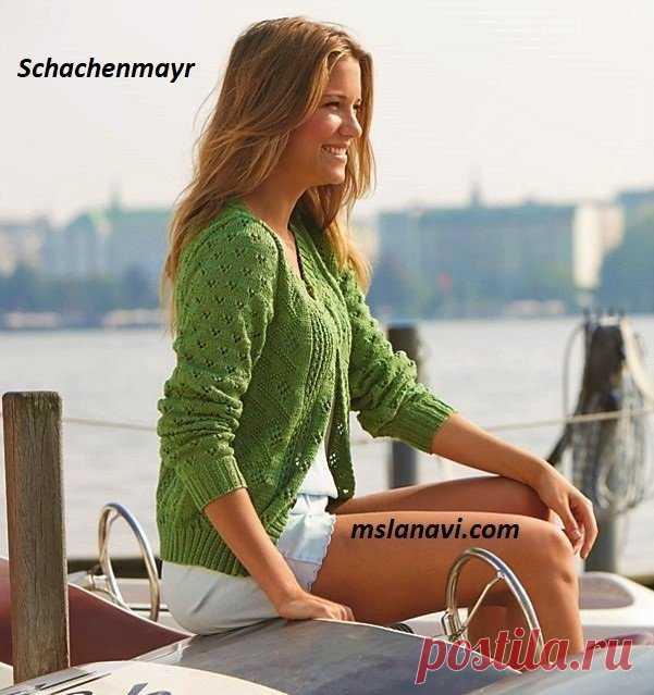 Летний зеленый жакет спицами от Schachenmayr - Вяжем с Лана Ви