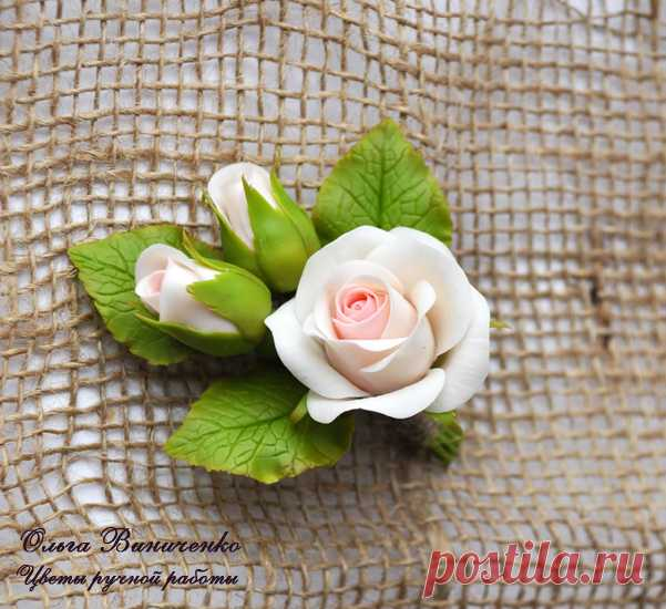 Роза из полимерной глины мастер класс