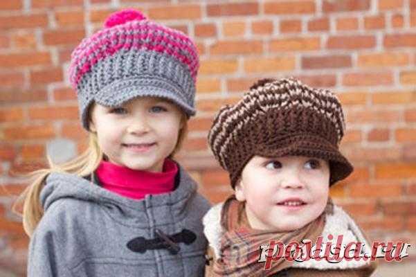 Вязаная кепка крючком для мальчика и девочки