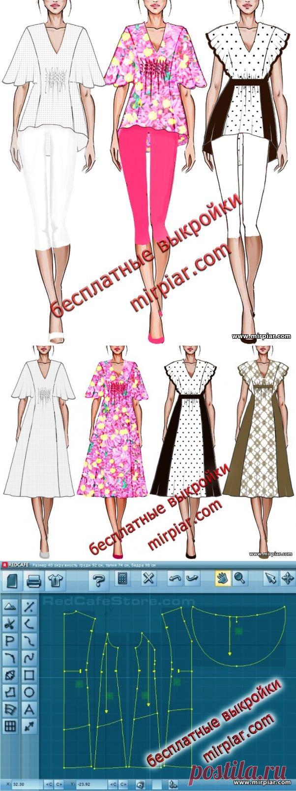 Туника и платье с большими рукавами-крылышками Скачать бесплатные выкройки в натуральную величину в четырех размерах с сайта MirPiar.com
