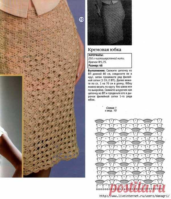 Вязание крючком и спицами юбки для