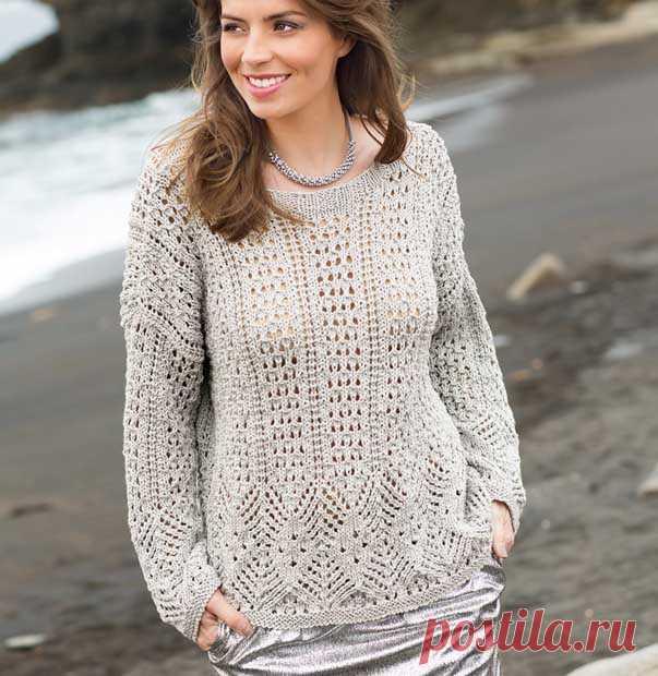 пуловер оверсайз с ажурным узором спицами схемы вязания свитеров