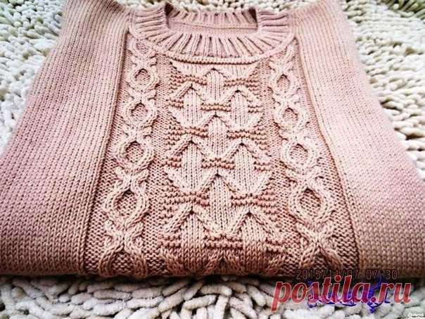 Красивейшие узоры спицами для свитеров и пуловеров  Узор для пуловера    Узор Клоке  Раппорт:14 петель и 20 рядов.Связать 2 р базовых петель — один изнаночными, второй лицевыми.Далее нечетные ряды вяжут лицевыми, четные — изнаночными.Первые 8 р вяж…