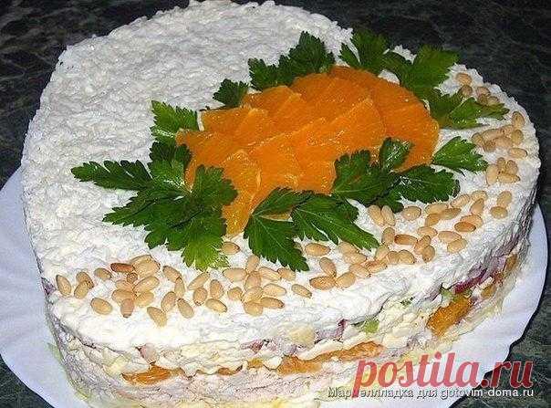 Слоёный салат с курицей, апельсинами и плавленым сыром / Основы бизнеса