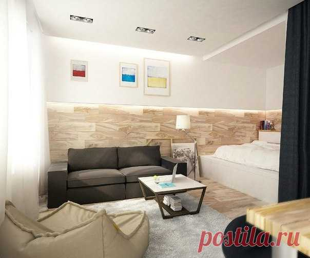 Design of the one-room apartment with a niche