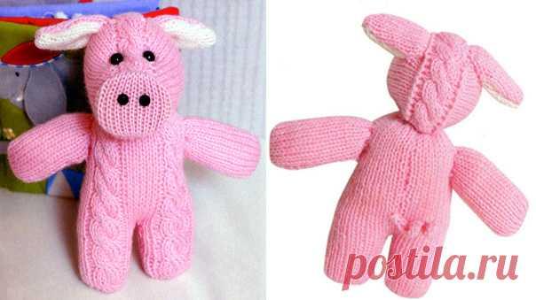 розовый поросенок вязаная игрушка спицами схема вязаные игрушки