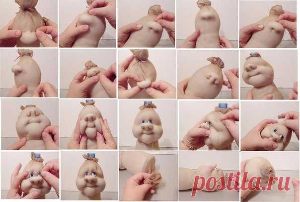 Как из капрона сделать лицо для куклы