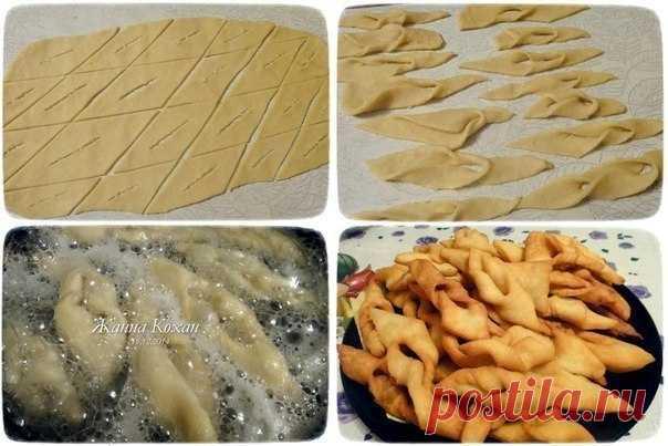 #Рецепт Воздушный хворост  Ингредиенты: - Мука пшеничная – 2.5 стакана - Молоко – 50 г - Сметана – 70 г - Сода - Яйца куриные – 2 шт. - Ванилин — на кончике ножа - Сахар – песок – 1 ст. ложка - Водка – 2 ст. ложки - Уксус - Сахарная пудра - Масло растительное – 300 мл  Приготовление: 1. В емкости взбиваем яйца с сахаром и ванилином, добавляем сметану и водку и хорошенько все перемешиваем. 2. Гасим уксусом соду и тоже добавляем в тесто. 3. В полученную массу постепенно доба...