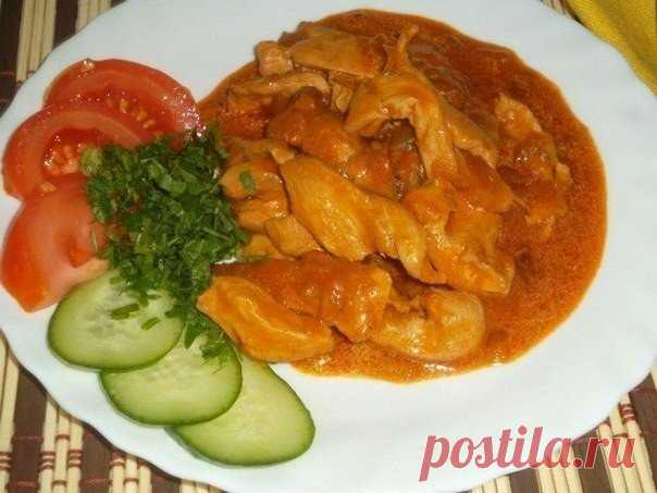 The most tasty chicken fillet goulash. Favourite dish of my children \u000d\u000a\u000d\u000a\u000d\u000aIdeal addition to mashed potatoes or rice!\u000d\u000a\u000d\u000a\u000d\u000a\u000d\u000a\u000d\u000a\u000d\u000a\u000d\u000a\u000d\u000a\u000d\u000a\u000d\u000aIngredients:\u000d\u000achicken fillet — 500 — 600 gmorkov — 1 piece garlic — 1 - 2 zubchikaluk — 1-2 pieces sunflower oil — 3 tablespoons sour cream — 2 tablespoons tomato paste — …