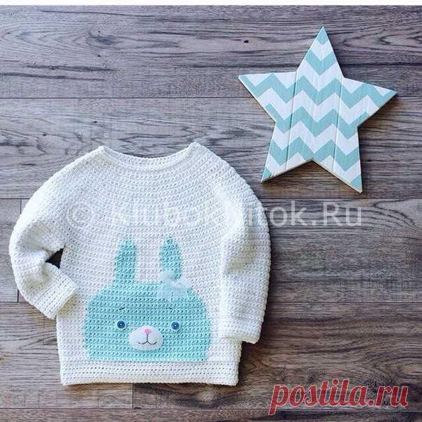 Пуловер с зайкой  d68622673188a