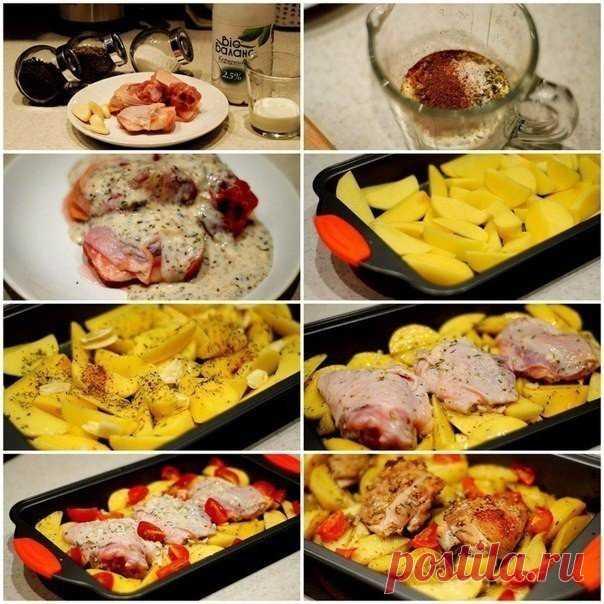 Курица маринованная в кефире, запечённая с картофелем с травами и чесноком • Сияние Жизни
