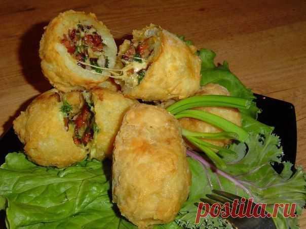- Хрустящий фаршированный картофель с ветчиной и сыром | Любимые рецепты
