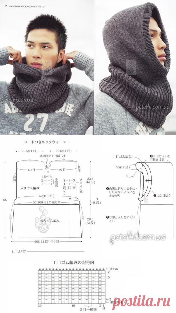 Вязаный мужской снуд / шапка-капюшон спицами. Выкройка ...