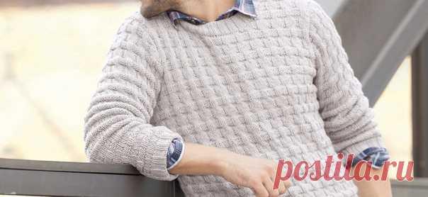 Мужской пуловер со смещенной резинкой