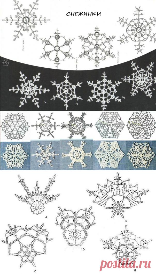 Новогодние снежинки крючком: схемы