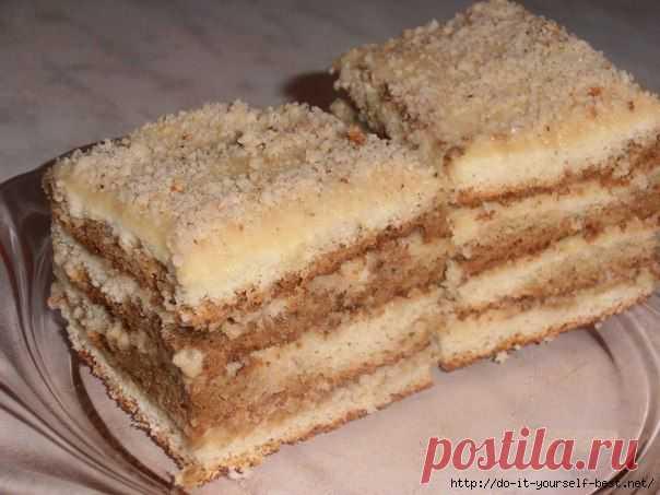Бисквитное пирожное с кремом и орехами - Простые рецепты Овкусе.ру