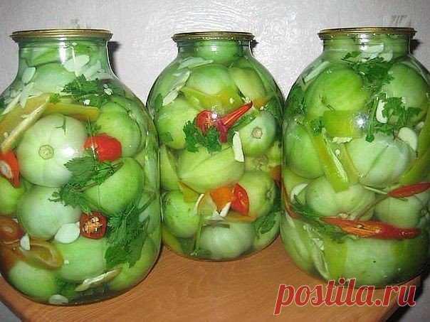 Мужской острый салат из зеленых помидоров без консервации  В интернете этот рецепт называется
