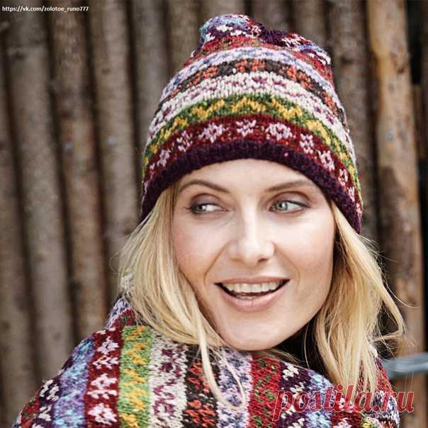 Яркая шапочка с жаккардовыми узорами. Многоцветные жаккардовые орнаменты делают эту шапку яркой и радостной, а мериносовая шерсть обеспечивает исключительное тепло.  РАЗМЕР Единый  ВАМ ПОТРЕБУЕТСЯ Пряжа Langyarns «Donegal» (100% натуральной мериносовой шерсти; 50 г/190 м) — по 1 мотку баклажановой (№0064), темно-красной (№0060), нежно-розовой (№0019), горчичной (№0011), оливковой (№0098), ягодной (№0048), бежевой (№0096), оранжевой (№0059), коричневой (№0068), фиолетовой (...