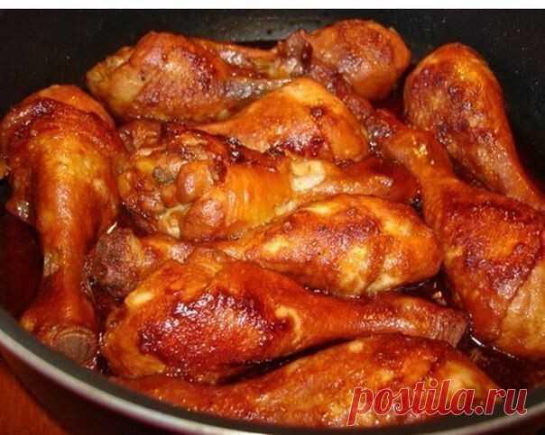 КУРИНЫЕ НОЖКИ В СОЕВО-МЕДОВОМ СОУСЕ  Вам потребуется:  - количество куриного мяса зависит от порции - 6 ст. ложек соев. соуса - 4 ст. ложки кетчупа - 2 ст. ложки меда - 2 ч. ложки горчицы - 4 зубчика чеснока (раздавить) - соль, перец по желанию и вкусу  Как готовить:  1. Обжариваем слегка ножки и заливаем их соусом. 2. Тушим на маленьком огоньке минут 15 до готовности, не забывая перевернуть мясо ... всё!  Приятного аппетита! -----------------------------------------------...