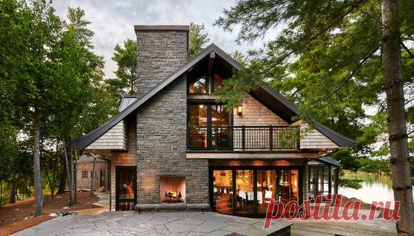Красивый коттедж в лесу на берегу озера | Нескучный дизайн | Постила