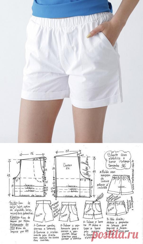 выкройка женских шорт на резинке скачать