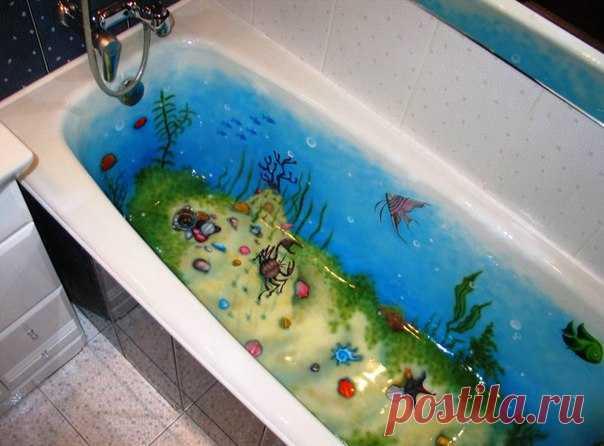 Раскрасила ванну. Ребенок счастлив 😊