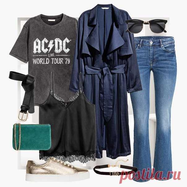 Создайте шикарный лаконичный образ, сделав акцент на детали. Стильные джинсы, гранжевая футболка с логотипом любимой рок-группы плюс пара аккуратных аксессуаров - и правильно подобранные сочетания всё скажут за вас. #HM