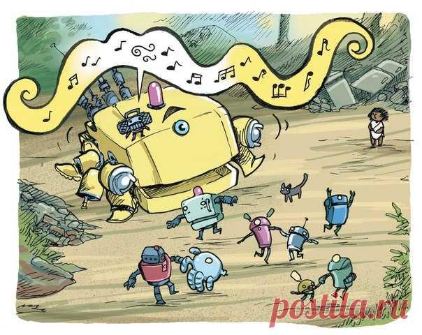 Con el viernes, los Amigos. ¡Bailan todo! #ИллюстрацияДня del tebeo «el Chiquitín el Robot» → mif.to\/littlerobot