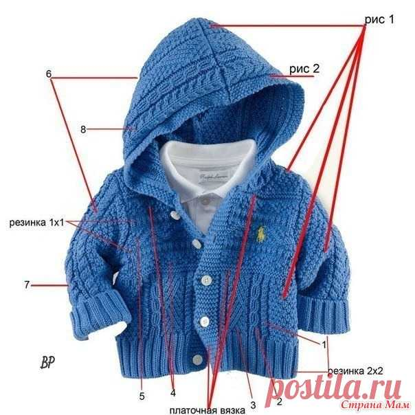 Jacket for the boy with a hood - Knitting for children - the Country of Mothers