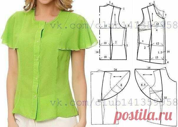 Выкройка блузки  #шитье#выкройки#моделирование#блузка