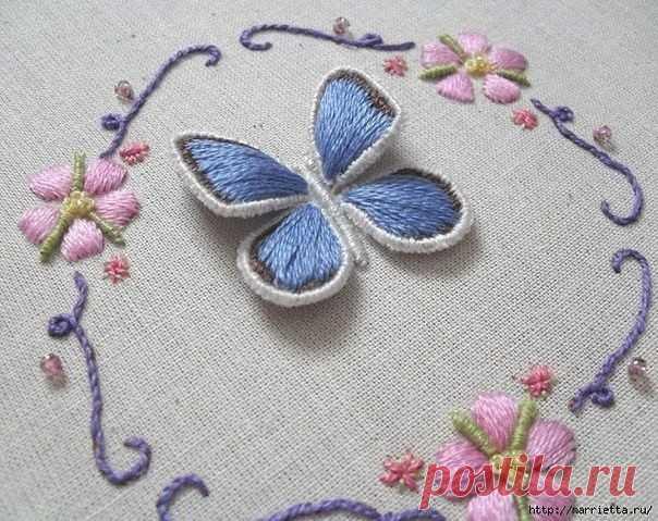 Объёмная вышивка бабочки