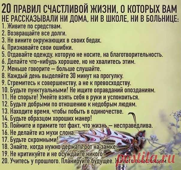 20 правил счастливой жизни