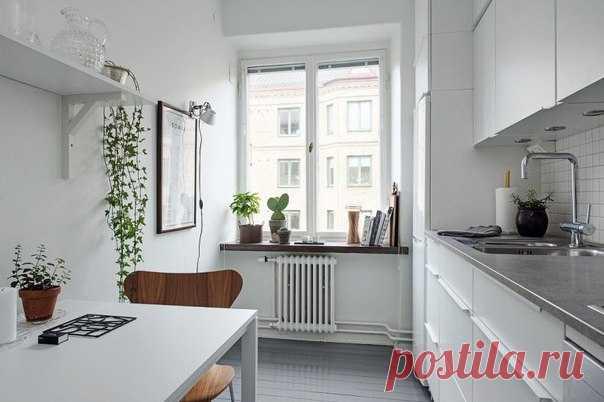 Кухня 7 кв. м с линейной планировкой