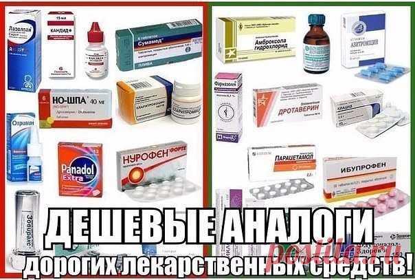 ЗАМЕНА ДОРОГИХ ЛЕКАРСТВ АНАЛОГАМИ!   СОХРАНЯЕМ СЕБЕ!  1. Нурофен (120руб) = Ибупрофен (10руб)  2. Мезим (300руб) = Панкреатин (30руб)  3. Но-шпа (150руб) = Дротаверина гидрохлорид (30руб)  4. Панадол(50руб) = Парацетамол (5руб)  5. Белосалик (380руб) = Акридерм СК (40руб)  6. Бепантен (250руб) = Декспантенол (100руб)  7. Бетасерк(600руб) = Бетагистин (250руб)  8. Быструмгель (180руб) = Кетопрофен (60руб)  9. Вольтарен (300руб) = Диклофенак (40руб)  10. Гастрозол (120руб) =...