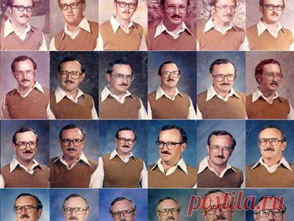 Ироничный физкультурник каждый год фотографируется для школьного альбома в одинаковой одежде. 40 лет соблюдает забавную традицию