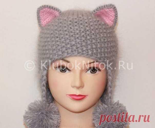 шапка кошечка вязание для девочек вязание спицами и крючком
