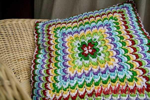Вязание узора, имитирующего вышивку барджелло.