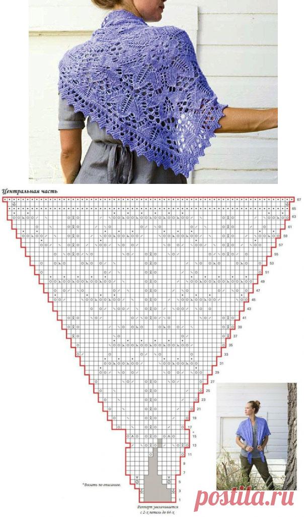 Вязаная шаль цветочным узором. Спицами