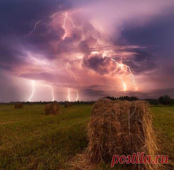 Гроза над Вологодскими полями. Автор фото: Сергей Сутковой.