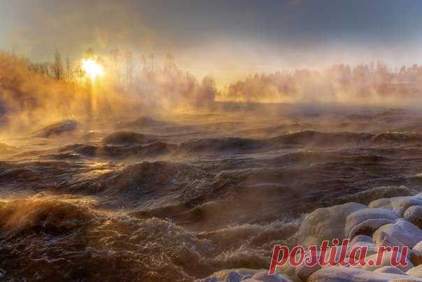 Январский мороз на Вуоксе, Россия. Автор фото — Эдуард Гордеев: